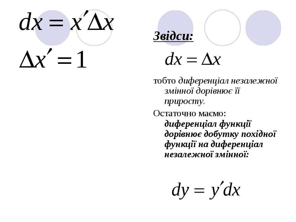 Звідси: тобто диференціал незалежної змінної дорівнює її приросту. Остаточно ...