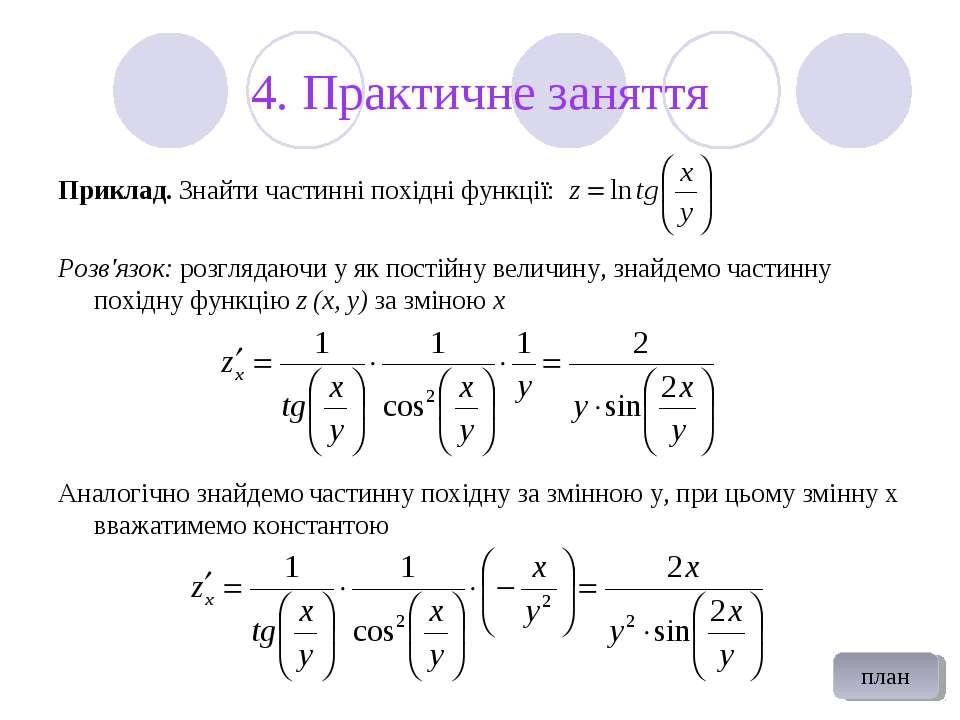 4. Практичне заняття Приклад. Знайти частинні похідні функції: Розв'язок: роз...