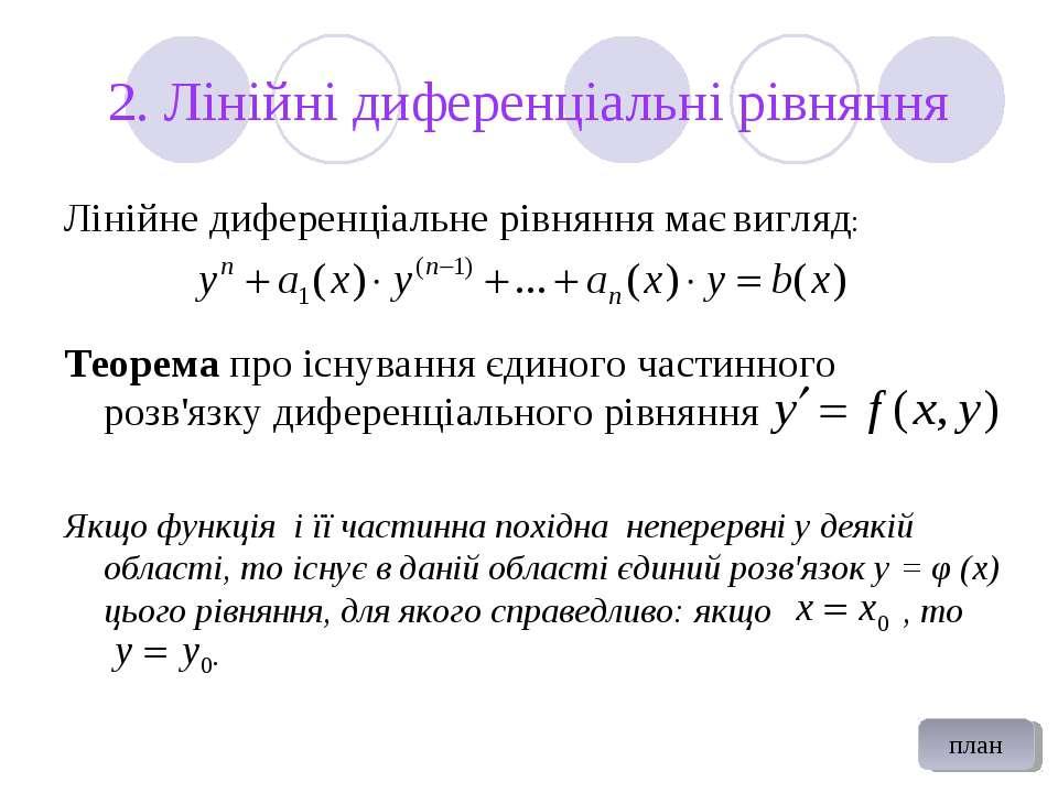 2. Лінійні диференціальні рівняння Лінійне диференціальне рівняння має вигляд...