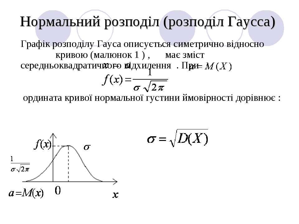 Нормальний розподіл (розподіл Гаусса) Графік розподілу Гауса описується симет...