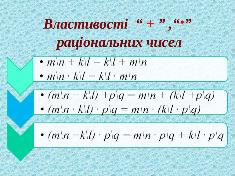 """Властивості """" + """" ,""""∙"""" раціональних чисел"""