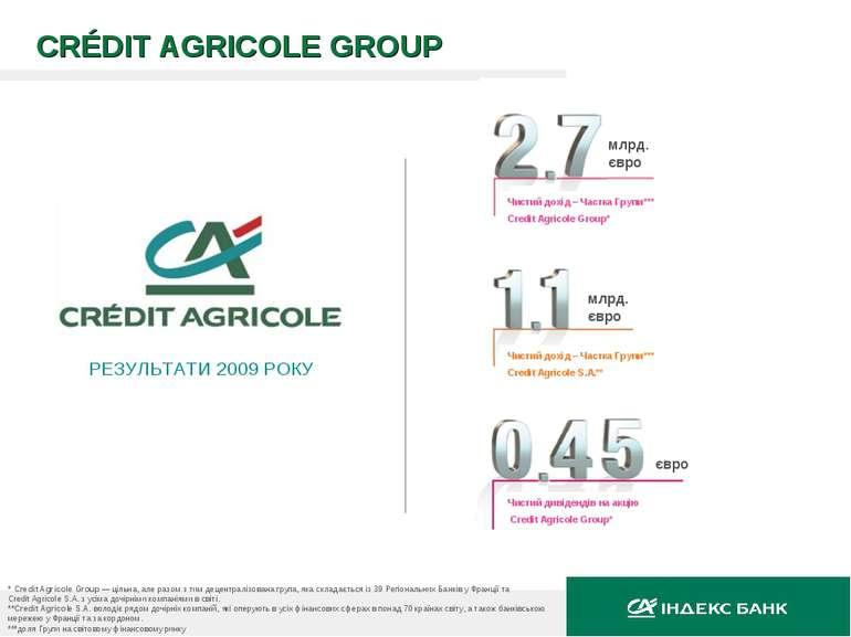 CRÉDIT AGRICOLE GROUP РЕЗУЛЬТАТИ 2009 РОКУ * Credit Agricole Group — цільна, ...