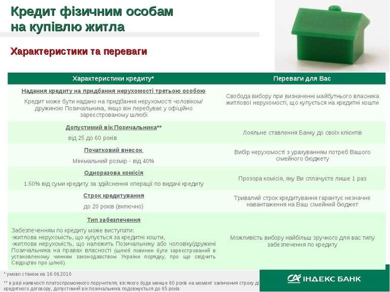 Характеристики та переваги * умови станом на 16.06.2010 ** в разі наявності п...
