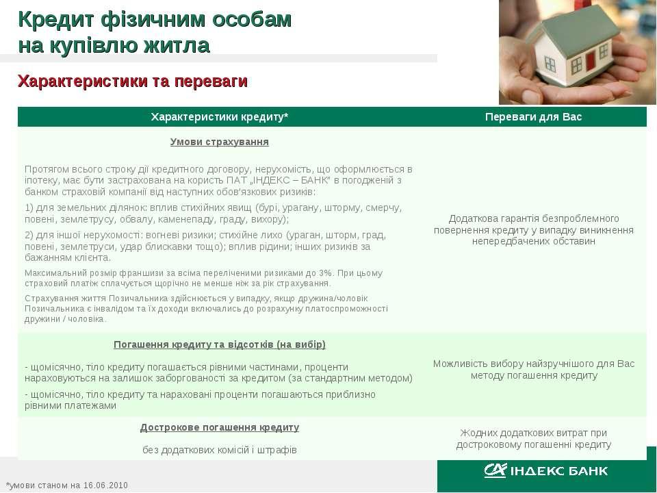 Характеристики та переваги *умови станом на 16.06.2010 Кредит фізичним особам...