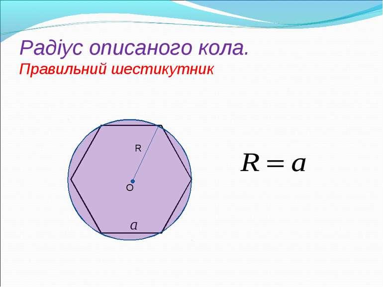 Радіус oписаного кола. Правильний шестикутник R O