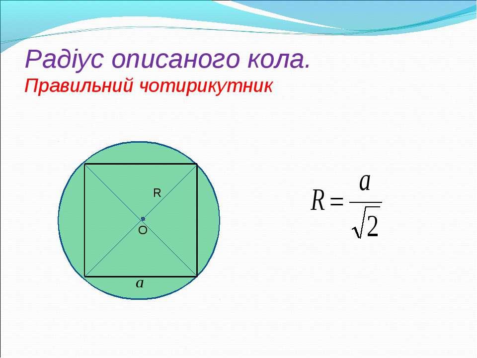 Радіус oписаного кола. Правильний чотирикутник R O