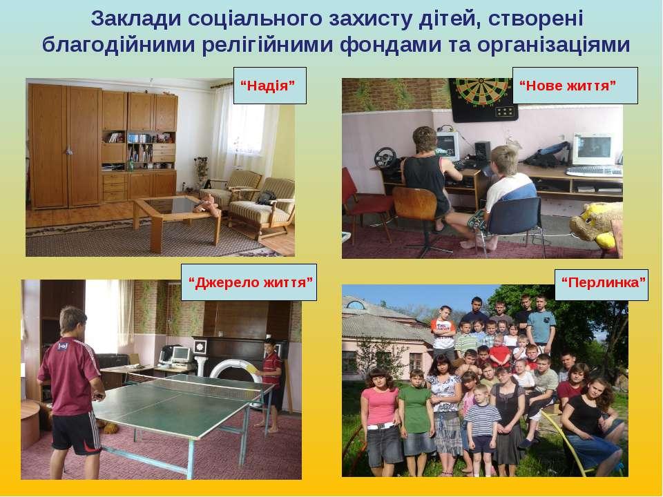 Заклади соціального захисту дітей, створені благодійними релігійними фондами ...