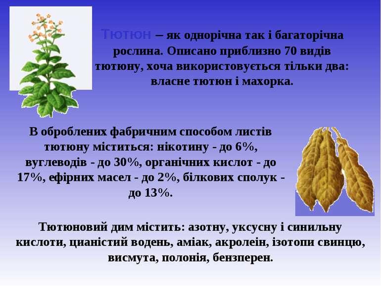 В оброблених фабричним способом листів тютюну міститься: нікотину - до 6%, ву...