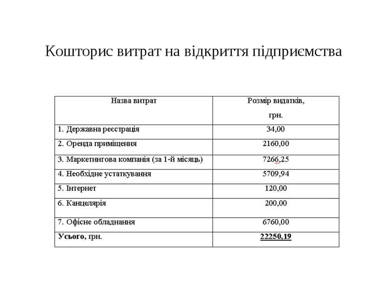 Кошторис витрат на відкриття підприємства