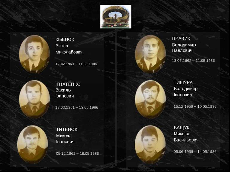 ІГНАТЕНКО Василь Іванович 13.03.1961 – 13.05.1986 ПРАВИК Володимир Павлович 1...