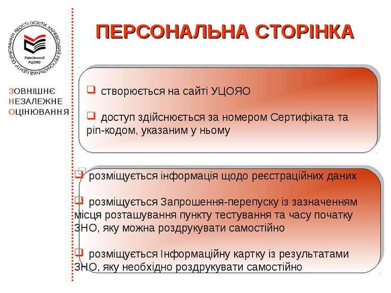 ПЕРСОНАЛЬНА СТОРІНКА створюється на сайті УЦОЯО доступ здійснюється за номеро...