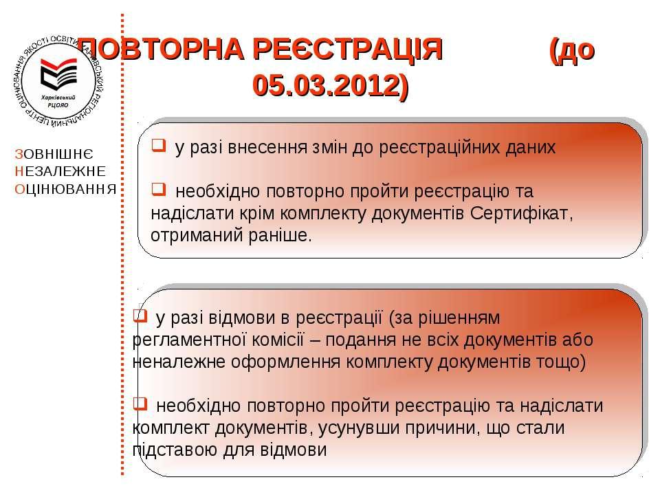ПОВТОРНА РЕЄСТРАЦІЯ (до 05.03.2012) у разі відмови в реєстрації (за рішенням ...