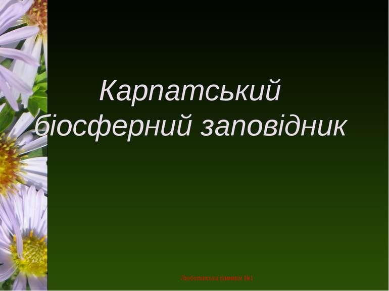 Карпатський біосферний заповідник Люботинська гімназія №1 Люботинська гімназі...