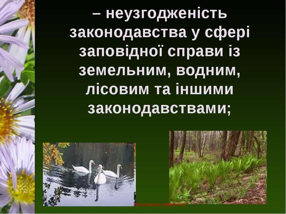 – неузгодженість законодавства у сфері заповідної справи із земельним, водним...