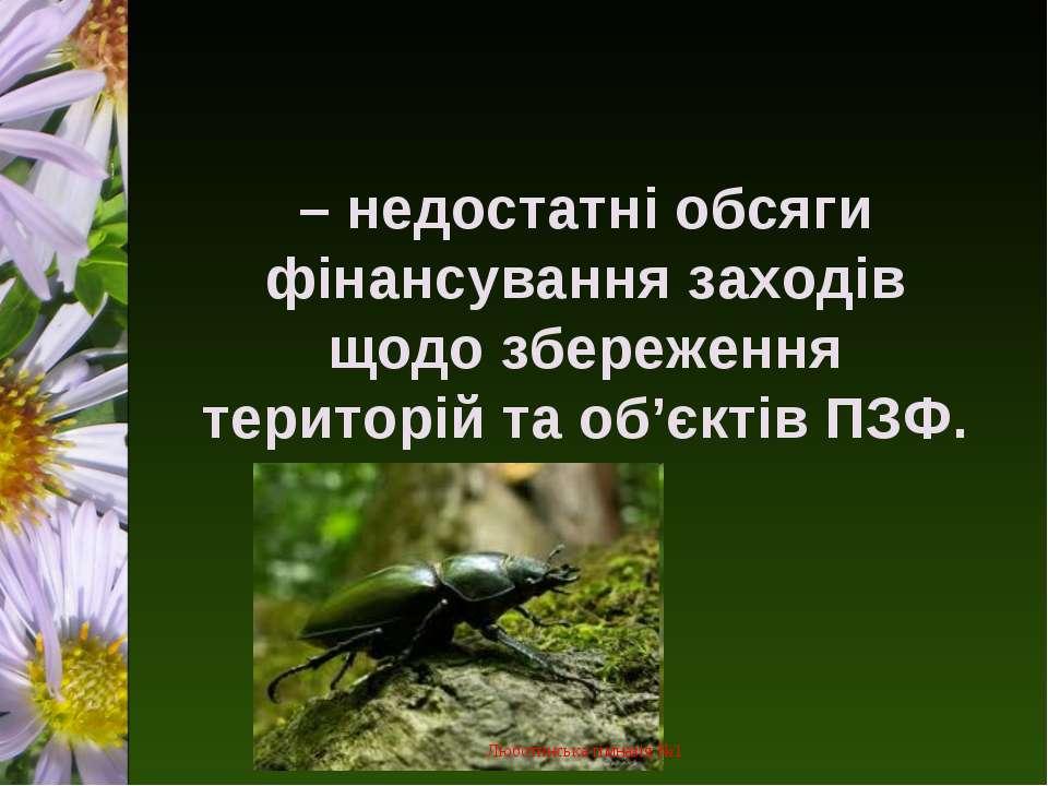 – недостатні обсяги фінансування заходів щодо збереження територій та об'єкті...