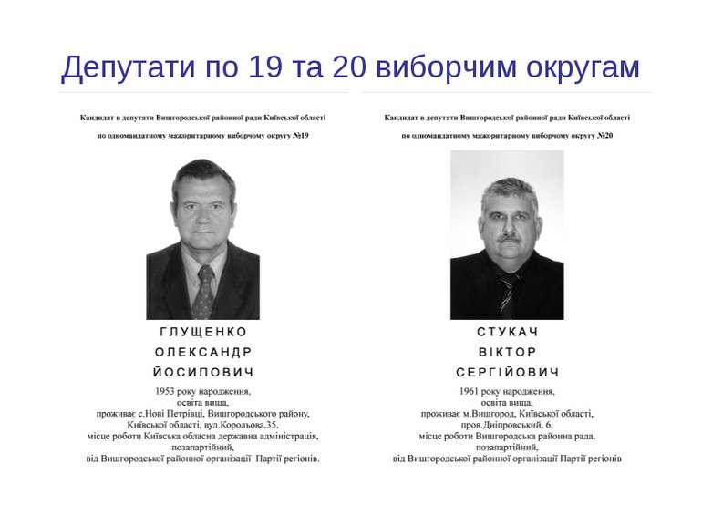Депутати по 19 та 20 виборчим округам