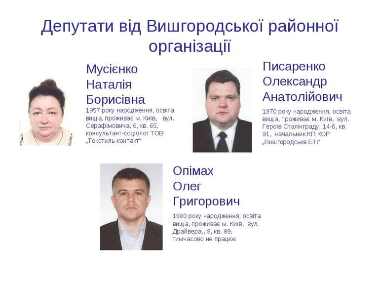 Депутати від Вишгородської районної організації Мусієнко Наталія Борисівна 19...