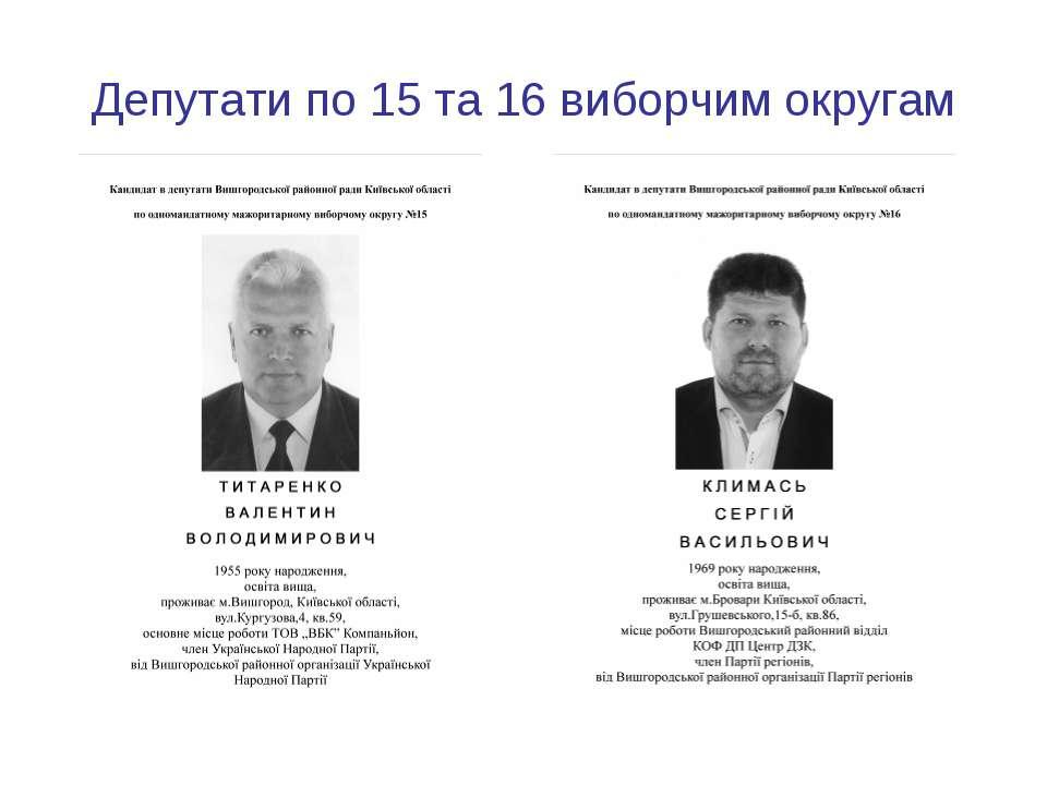 Депутати по 15 та 16 виборчим округам