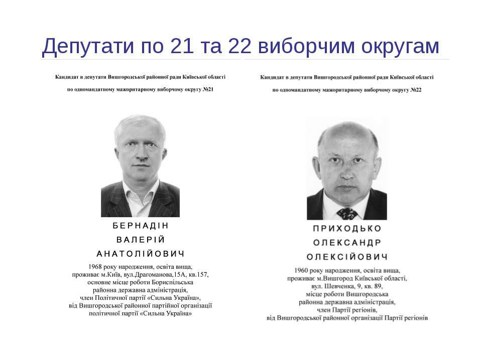 Депутати по 21 та 22 виборчим округам