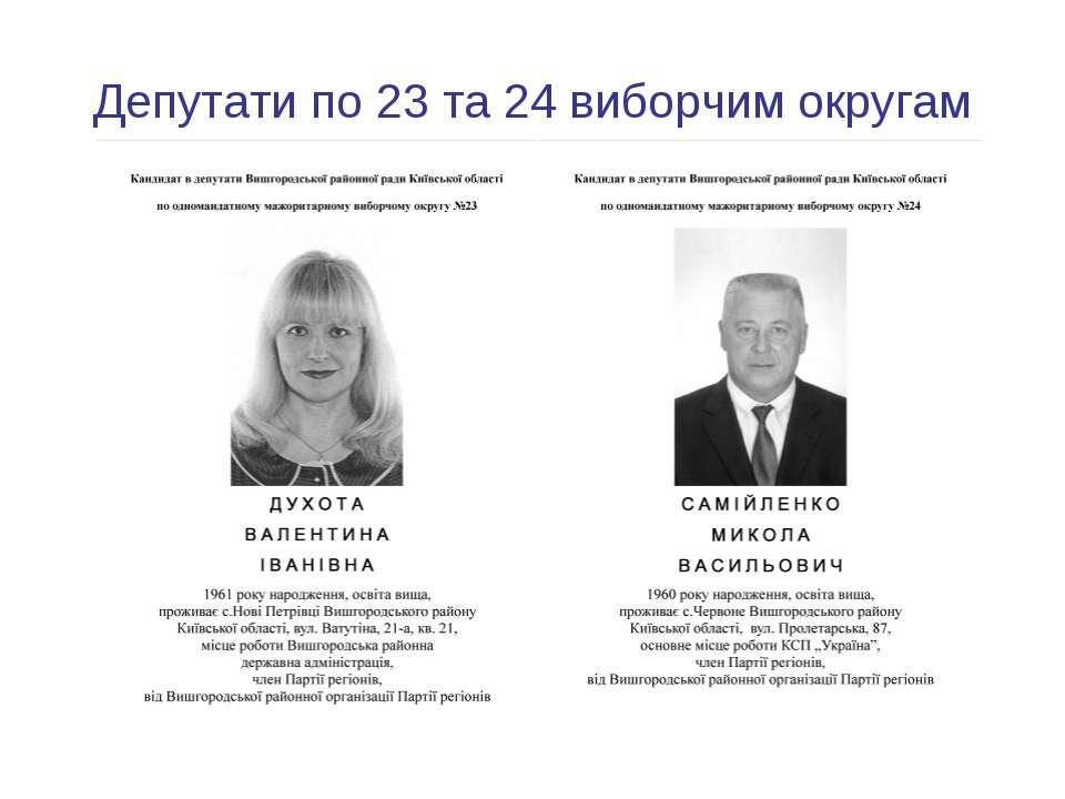 Депутати по 23 та 24 виборчим округам