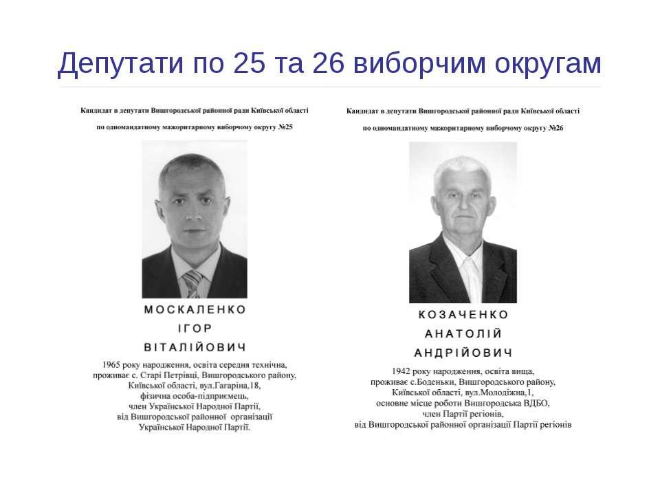 Депутати по 25 та 26 виборчим округам