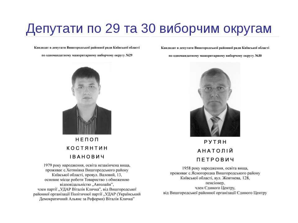 Депутати по 29 та 30 виборчим округам
