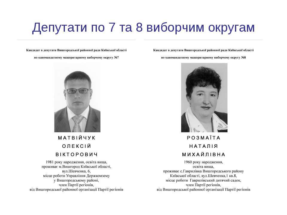 Депутати по 7 та 8 виборчим округам