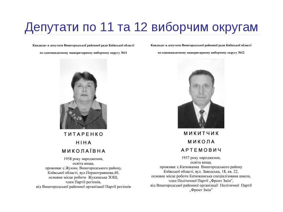 Депутати по 11 та 12 виборчим округам