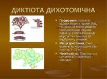 ДИКТІОТА ДИХОТОМІЧНА Поширення. Чорне м.- вздовж берегiв Криму. Вид поширений...