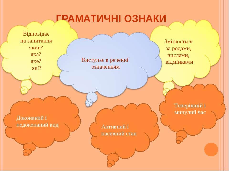ГРАМАТИЧНІ ОЗНАКИ Доконаний і недоконаний вид Теперішній і минулий час Активн...