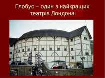 Глобус – один з найкращих театрів Лондона