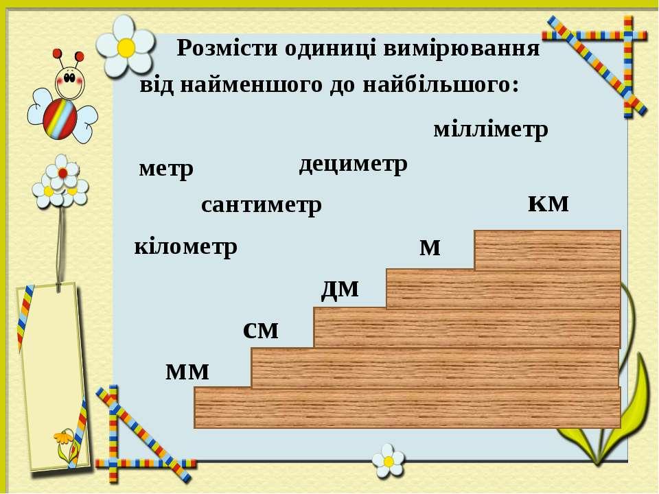 Розмісти одиниці вимірювання від найменшого до найбільшого: дециметр кілометр...