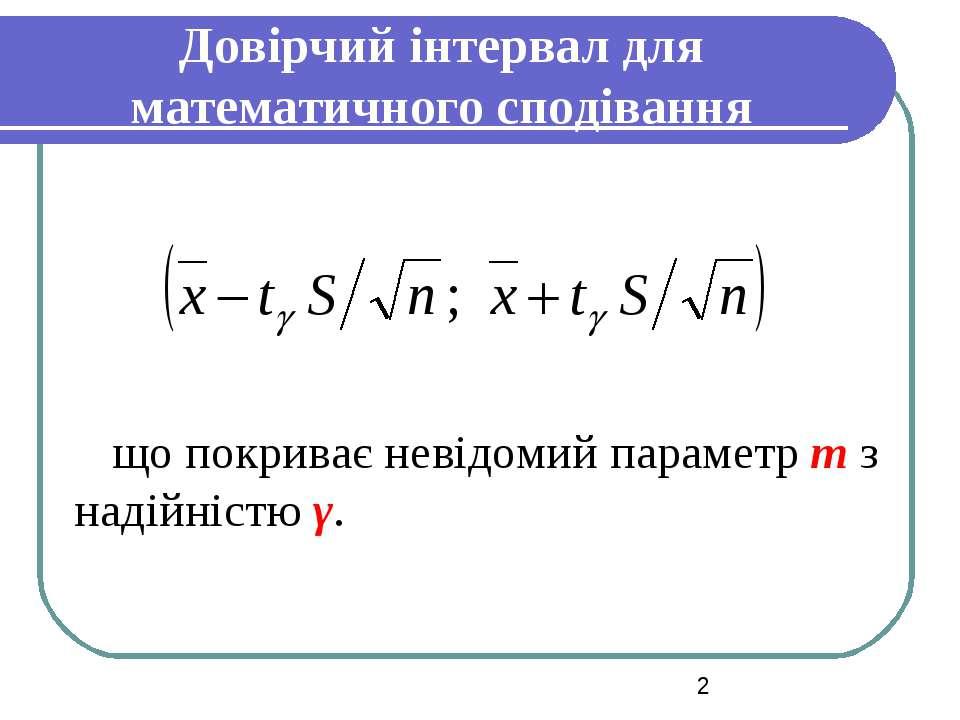 Довірчий інтервал для математичного сподівання що покриває невідомий параметр...