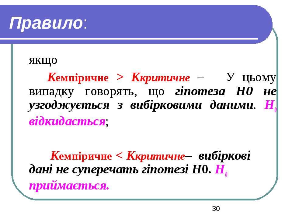 Правило: якщо Кемпіричне > Ккритичне – У цьому випадку говорять, що гіпотеза ...