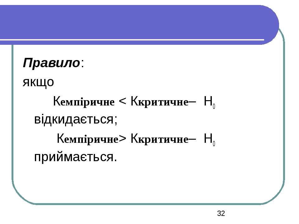Правило: якщо Кемпіричне < Ккритичне– H0 відкидається; Кемпіричне> Ккритичне–...