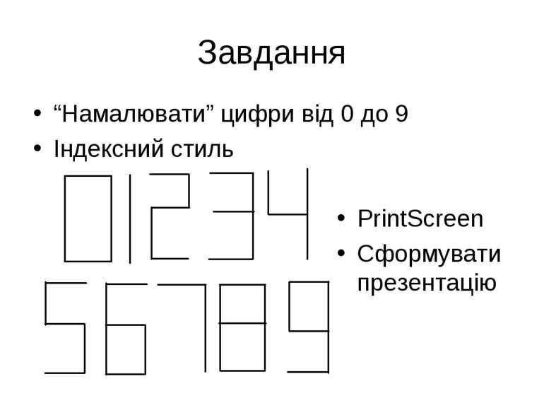 """Завдання """"Намалювати"""" цифри від 0 до 9 Індексний стиль PrintScreen Сформувати..."""
