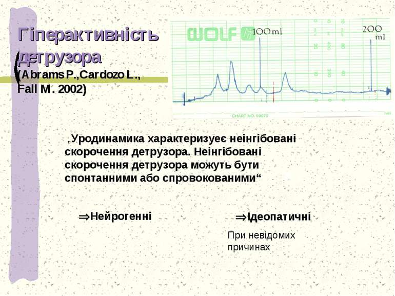 """Гіперактивність детрузора (Abrams P.,Cardozo L., Fall M. 2002) """"Уродинамика х..."""
