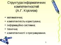 Структура інформатичних компетентностей (А.Г.Кіріллов) математична; компетен...