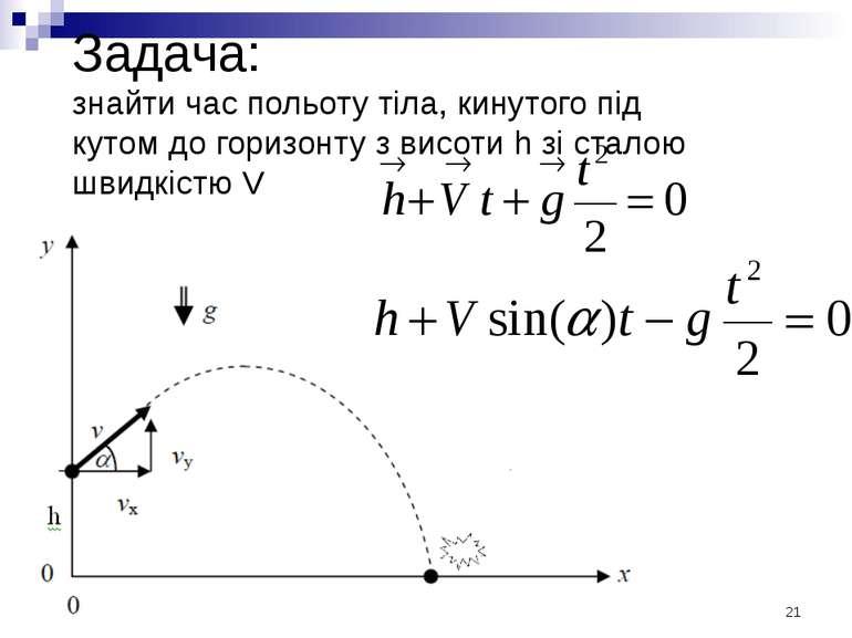 Задача: знайти час польоту тіла, кинутого під кутом до горизонту з висоти h з...