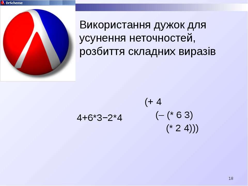 Використання дужок для усунення неточностей, розбиття складних виразів 4+6*3−...