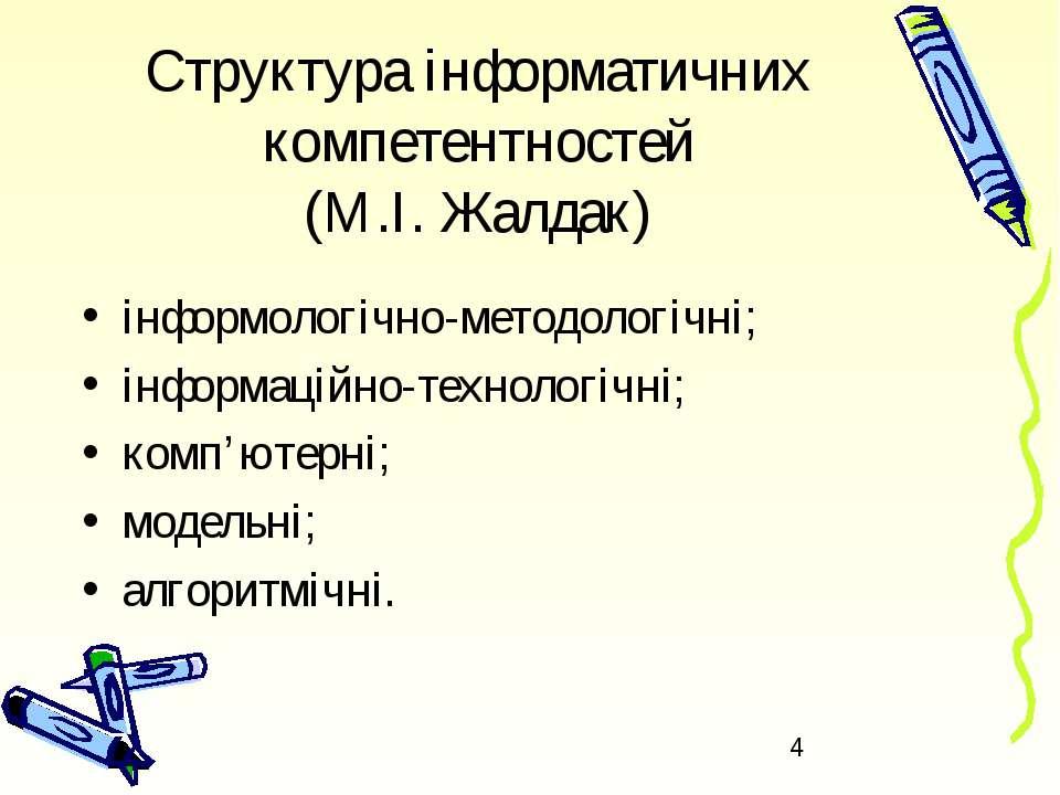 Структура інформатичних компетентностей (М.І. Жалдак) інформологічно-методоло...