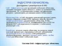 Система Grid – інфраструктура обчислень ІНДУСТРІЯ ОБЧИСЛЕНЬ Досліджено і реал...