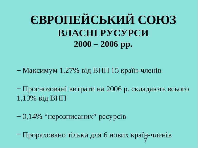 ЄВРОПЕЙСЬКИЙ СОЮЗ ВЛАСНІ РУСУРСИ 2000 – 2006 рр. Максимум 1,27% від ВНП 15 кр...