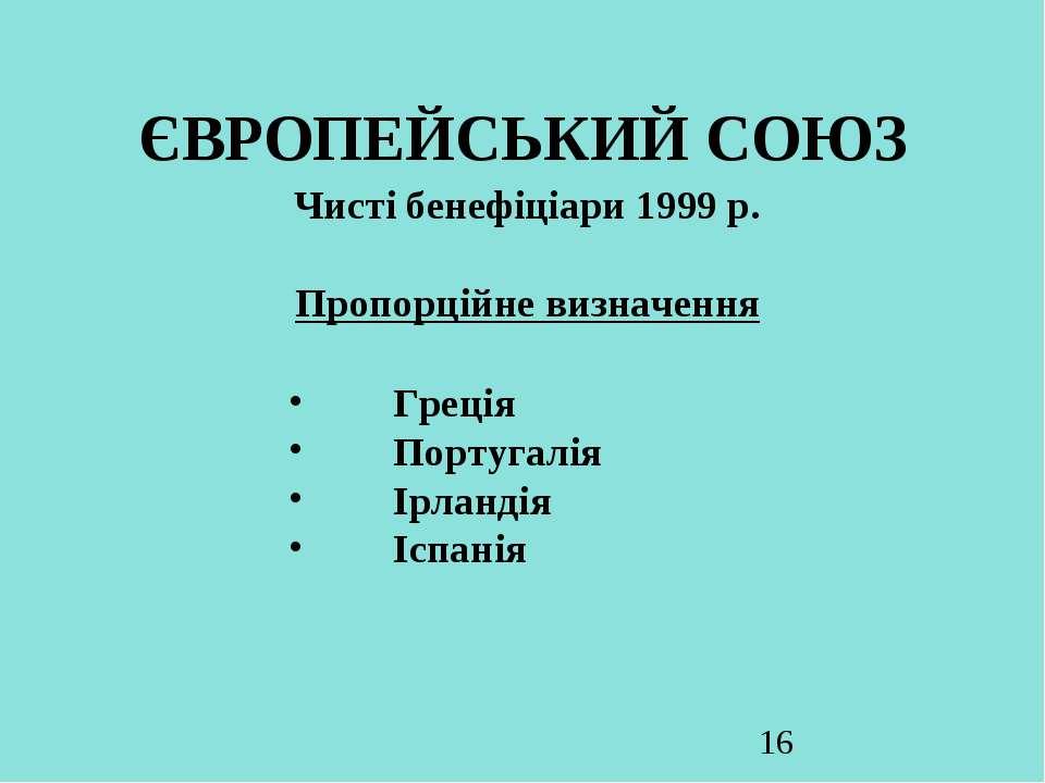 ЄВРОПЕЙСЬКИЙ СОЮЗ Чисті бенефіціари 1999 р. Пропорційне визначення Греція Пор...
