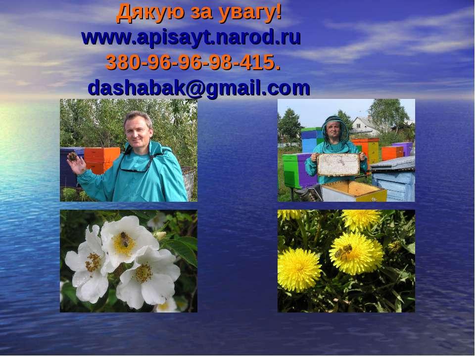 Дякую за увагу! www.apisayt.narod.ru 380-96-96-98-415. dashabak@gmail.com