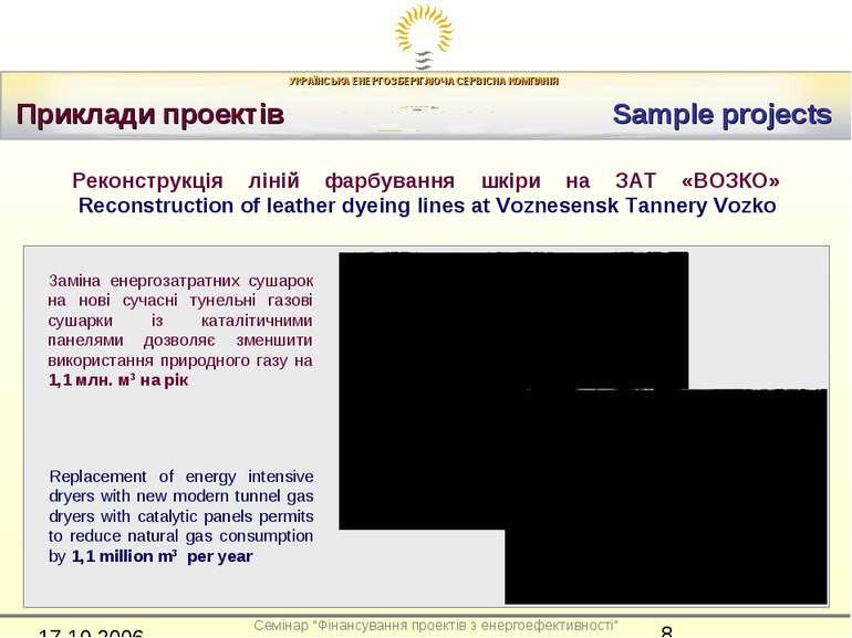 Приклади проектів Sample projects Реконструкція ліній фарбування шкіри на ЗАТ...