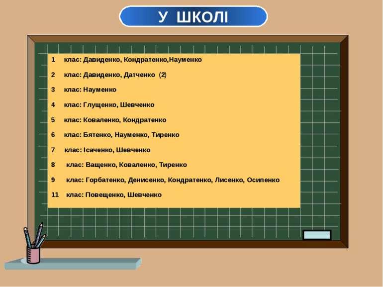 У ШКОЛІ текст клас: Давиденко, Кондратенко,Науменко клас: Давиденко, Датченко...
