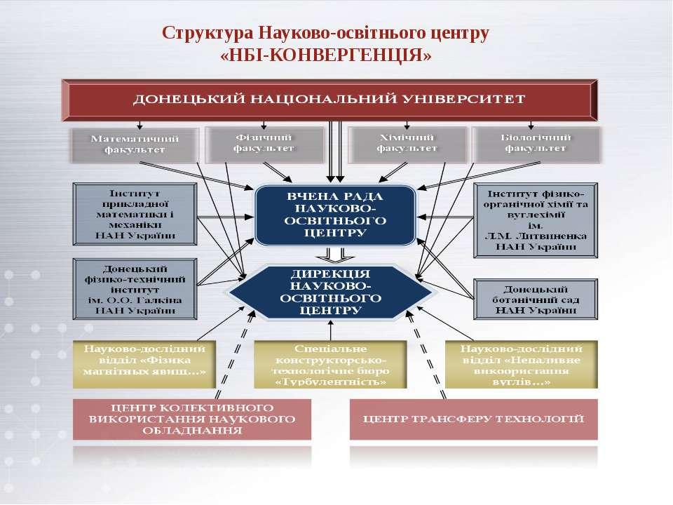 Структура Науково-освітнього центру«НБІ-КОНВЕРГЕНЦІЯ»