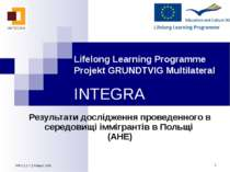 * Lifelong Learning Programme Projekt GRUNDTVIG Multilateral INTEGRA Результа...