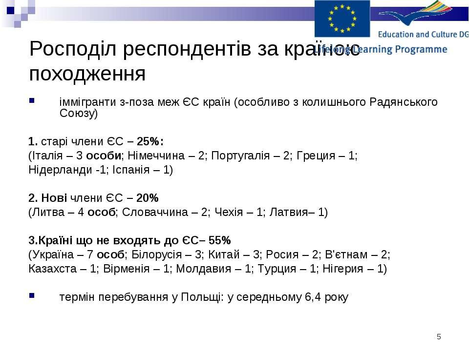 * Росподіл респондентів за країною походження іммігранти з-поза меж ЄС країн ...